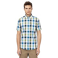 Ben Sherman - Big and tall blue short sleeve checked regular fit shirt