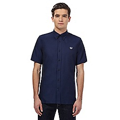 Fred Perry - Navy twill short sleeved shirt