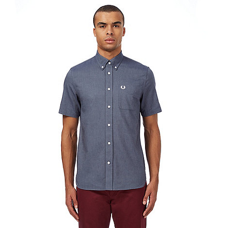 Farah 1920 - Navy woven checked shirt