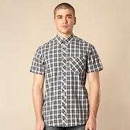 Big and tall blue checked short sleeve shirt