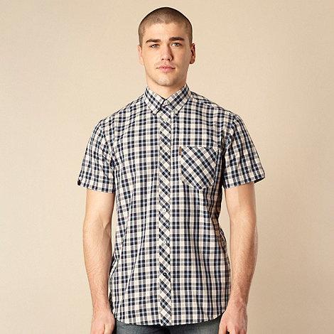 Ben Sherman - Big and tall blue checked short sleeve shirt