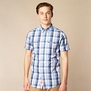 Blue checked concealed button shirt