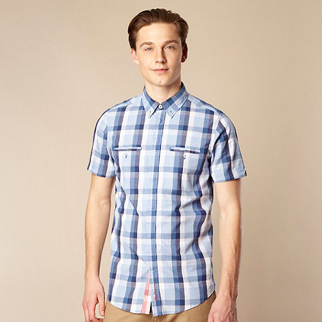 Ben Sherman - Big and tall blue checked concealed button shirt
