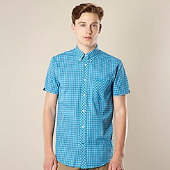 BEN SHERMAN - Bright blue grid checked shirt