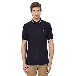 Fred Perry - Navy textured tipped shirt