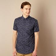 Blue floral short sleeved shirt