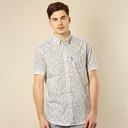 Big and tall white floral short sleeve shirt