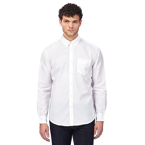 Ben sherman big and tall white 39 oxford 39 button down shirt for Tall button down shirts