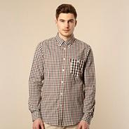 Big and tall brown gingham long sleeved shirt