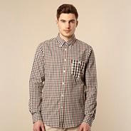 Brown gingham long sleeved shirt