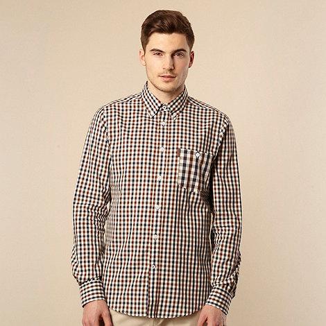 Ben Sherman - Brown gingham long sleeved shirt