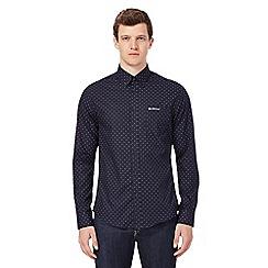 Ben Sherman - Big and tall navy printed regular fit shirt
