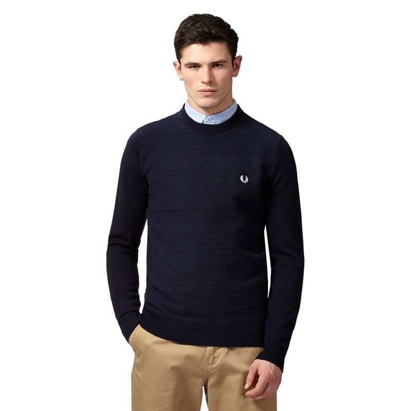 Fred Perry Navy (Blue) Textured Stripe Wool Jumper, Mens,