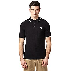 Fred Perry - Black chequerboard print knit polo shirt