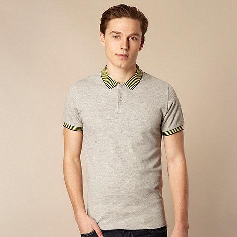 Ben Sherman - Grey striped collar polo shirt