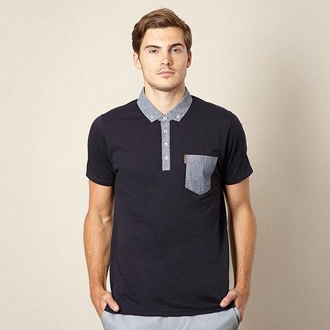 Ben Sherman - Big and tall navy chambray collar polo shirt