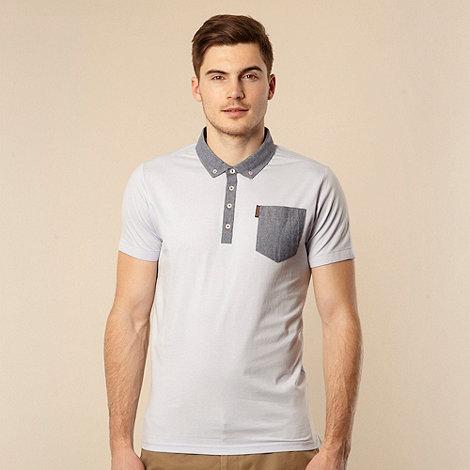Ben Sherman - Big and tall light blue chambray collar jersey polo shirt