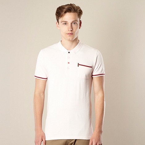 Ben Sherman - Big and tall light pink striped ribbing polo shirt