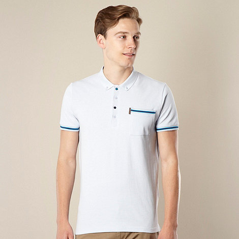 Ben Sherman - Light blue striped ribbing polo shirt