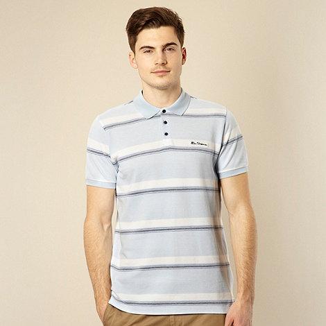Ben Sherman - Light blue horizontal stripe polo shirt