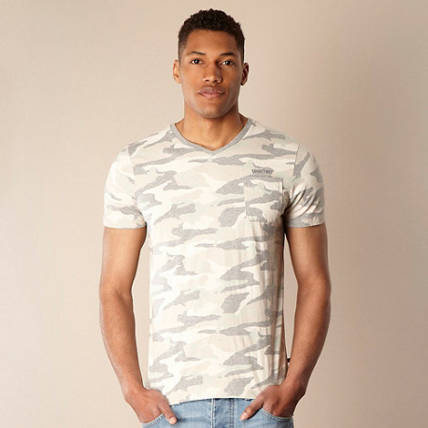 Schott - Grey faded camouflage printed t-shirt