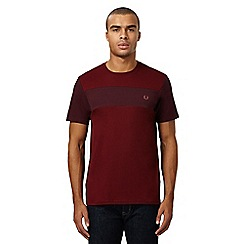 Fred Perry - Maroon textured panel crew neck t-shirt