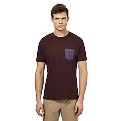 Ben Sherman - Big and tall dark red checked chest pocket t-shirt