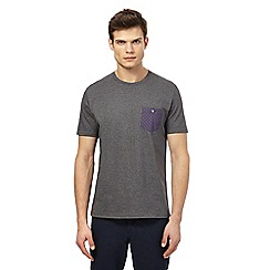 Ben Sherman - Big and tall grey checked chest pocket t-shirt
