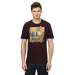 Ben Sherman - Big and tall dark red cityscape print t-shirt