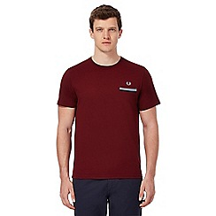 Fred Perry - Dark red contrast trim pocket t-shirt