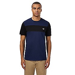 Fred Perry - Navy and black contrast panel t-shirt