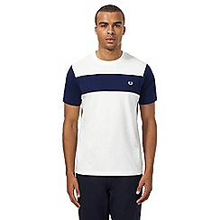 Fred Perry - White and blue contrast panel t-shirt