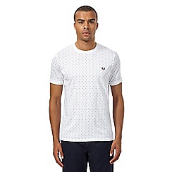 Fred Perry - White polka dot square print t-shirt