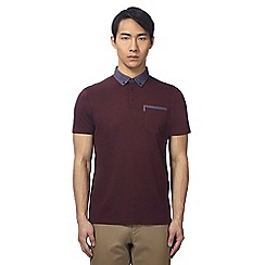 Ben Sherman - Big and tall dark red checked polo shirt