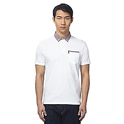 Ben Sherman - Big and tall white checked polo shirt