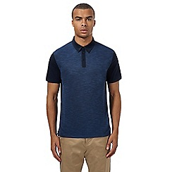 Ben Sherman - Navy and blue pique panel polo shirt