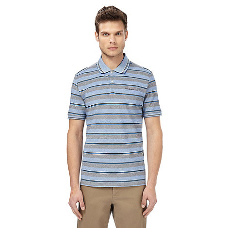 Ben sherman big and tall blue striped polo t shirt debenhams for Big and tall polo t shirts