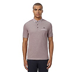 Fred Perry - Red Oxford trim woven collar polo shirt