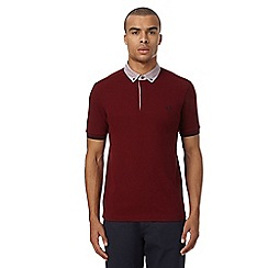 Fred Perry - Dark red textured polo shirt