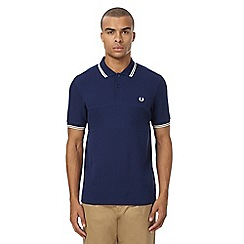 Fred Perry - Navy textured panel pique polo shirt
