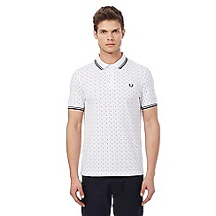 Fred Perry - White textured polka dot tipped polo shirt