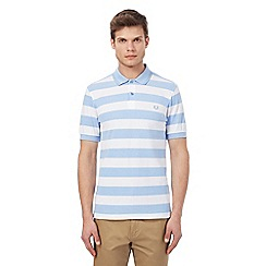 Fred Perry - Light blue and white wide striped polo shirt