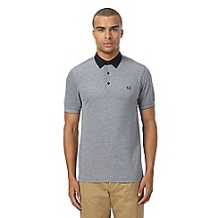 Fred Perry - Navy pique polka dot polo shirt