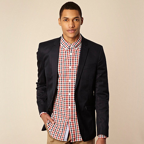 Ben Sherman - Navy chambray lined blazer jacket
