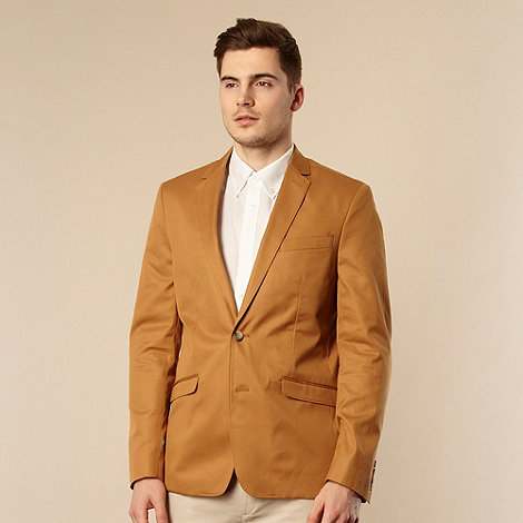 Ben Sherman - Big and tall tan cotton blazer