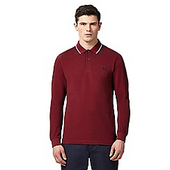 Fred Perry - Maroon long sleeve polo shirt