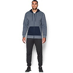 Under Armour - Navy 'Rival' fleece cotton blend patterned hooded warm up top