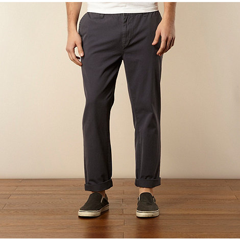 Farah - Navy rolled hem straight leg chinos