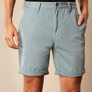 Light blue rolled chino shorts