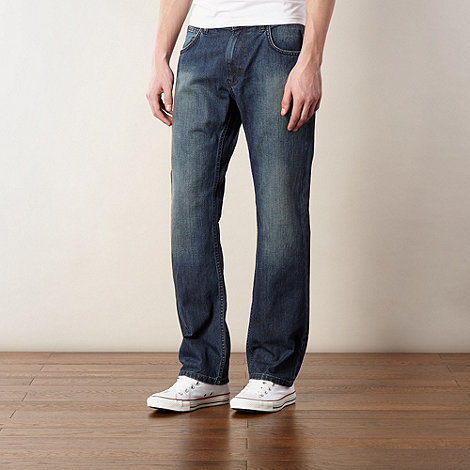 Ben Sherman - Dark blue worn straight leg jeans